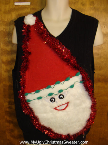 Furry Faced Santa Tacky Christmas Sweater Vest