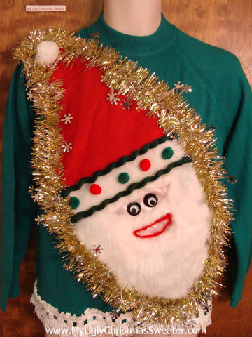 Furry Faced Santa Tacky Christmas Sweater with Fringe