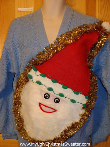 Wacky 3D Furry Santa Ugly Christmas Sweater Blue Vneck