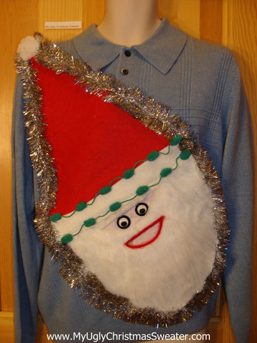 Mens Wacky 3D Furry Santa Ugly Christmas Sweater