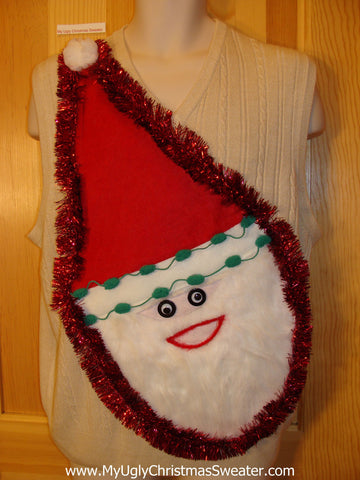 Mens Wacky 3D Furry Santa Ugly Christmas Sweater Vest