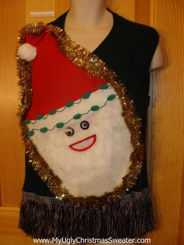 Mens Wacky Santa Ugly Christmas Sweater Vest with Fringe