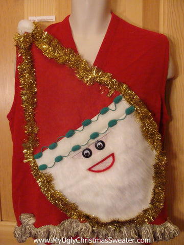 Mens Red Wacky Santa Ugly Christmas Sweater Vest with Fringe