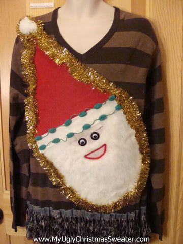 Striped Mens Wacky Santa Ugly Christmas Sweater with Fringe