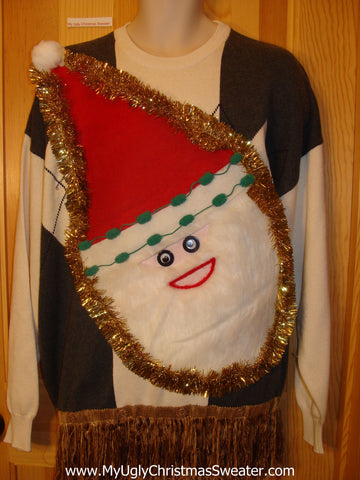 Mens Wacky Santa Ugly Christmas Sweater Long Fringe