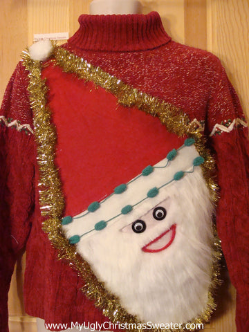 Wacky Santa Ugly Christmas Sweater Red Pullover