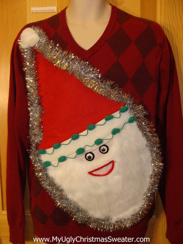 Mens Red Wacky 3D Furry Santa Ugly Christmas Sweater