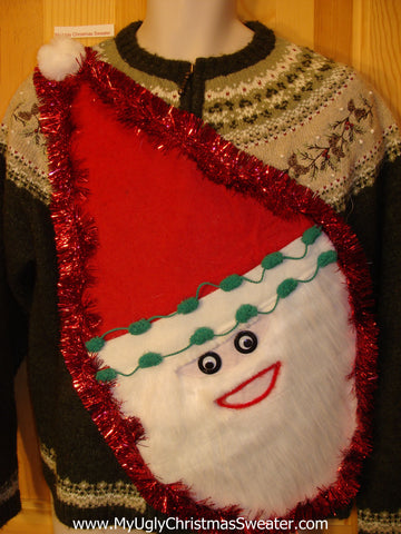 Wacky Santa Ugly Christmas Sweater Nordic Green Pullover