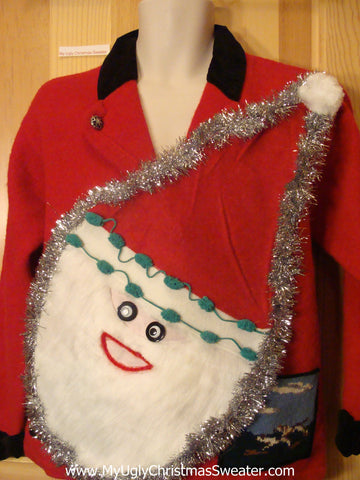 Red Wacky Santa Ugly Christmas Sweater