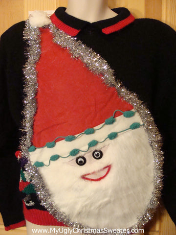 Wacky Santa Ugly Christmas Sweater Padded Shoulders