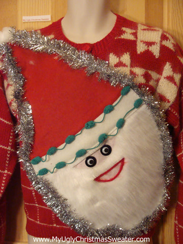 Wacky Santa Ugly Christmas Sweater Red Nordic