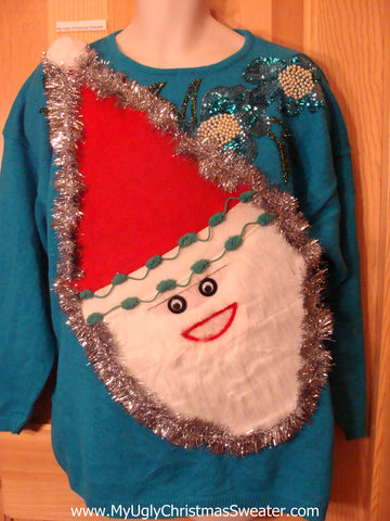 Wacky Santa Ugly Christmas Sweater Blue Bling Pullover