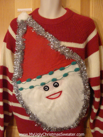 Wacky Santa Ugly Christmas Sweater Red White Striped