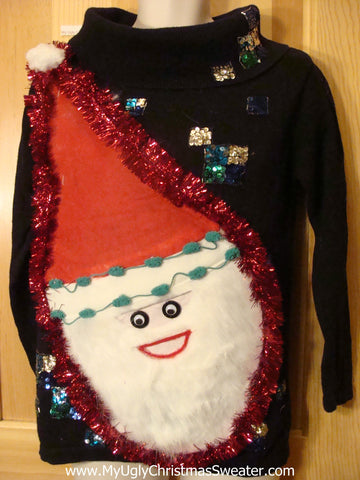 80s Pullover Wacky Santa Ugly Christmas Sweater Bling