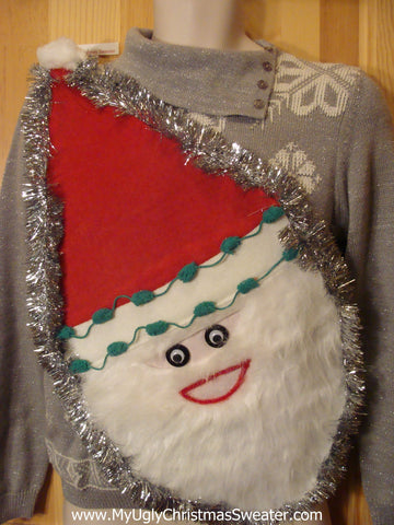 Wacky Santa Ugly Christmas Sweater 80s Padded Shoulders