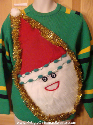 Mens Wacky Santa Tacky Christmas Sweater Ski Pullover