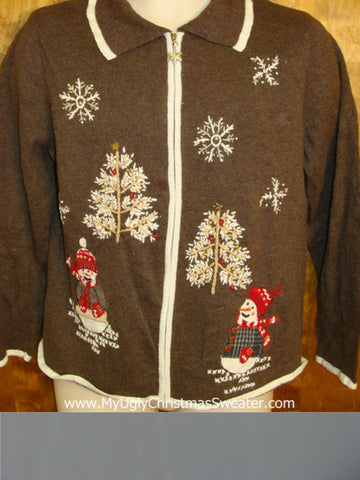 Skiing Snowmen Brown Ugly Christmas Sweater