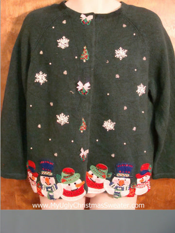 Cute Snowman and Snowflakes Ugliest Christmas Sweater