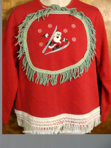 Skiing Santa Red Tacky Christmas Sweatshirt