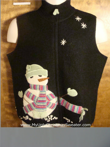 Snowman Bundled in Scarf Tacky Christmas Sweater Vest