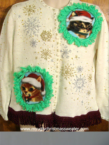 Silver and Gold Snowflakes Christmas Cat Ugly Sweater