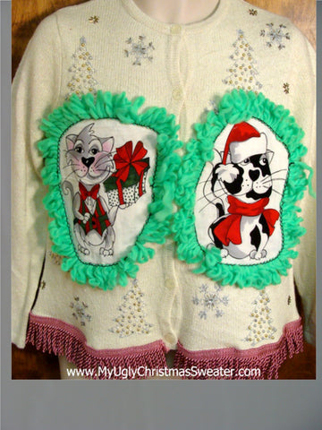 Silver and Gold Bling Cat Christmas Sweater