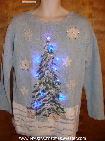 80s Christmas Sweater with Tree and Lights (g275)