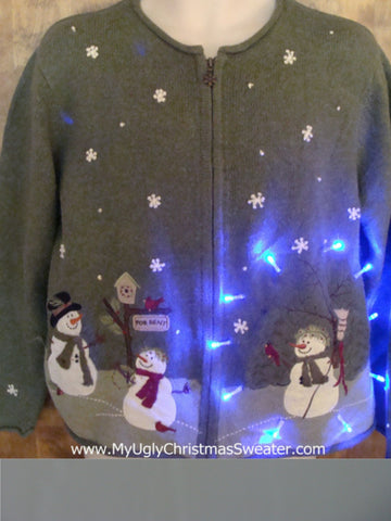 Snowman Themed Green Light Up Cheesy Christmas Sweater