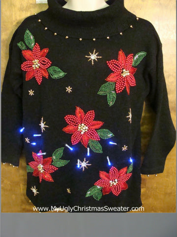 Poinsettias Party 80s Light Up Ugly Xmas Sweater