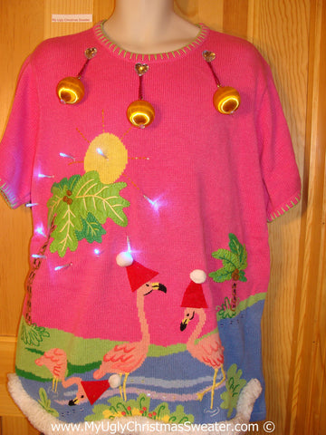 Tropical Themed 3D Ugly Christmas Sweater with Lights Flamingos (t10)