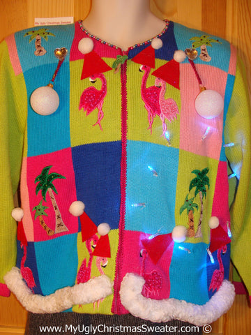 Tropical Themed 3D Ugly Christmas Sweater with Lights Flamingos (t11)