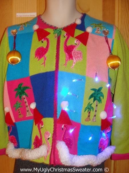 tropical themed 3d ugly christmas sweater with lights flamingos t12