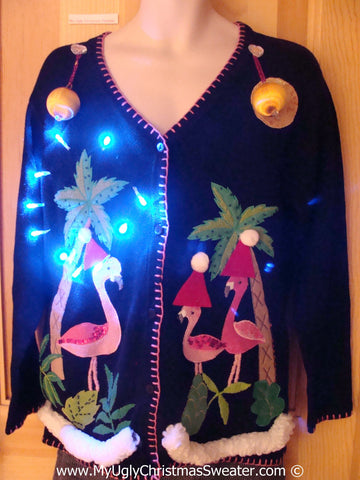Tropical Themed 3D Ugly Christmas Sweater with Lights Flamingos (t14)