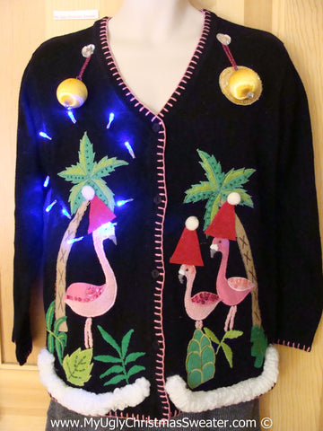 Tropical Themed 3D Ugly Christmas Sweater with Lights Flamingos (t15)
