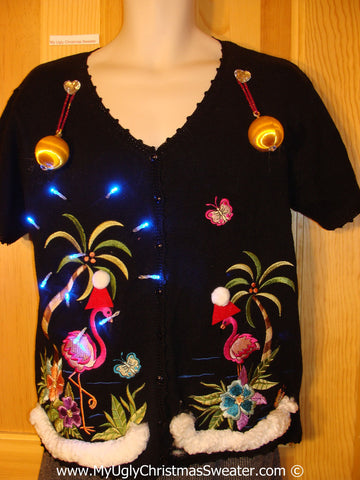 Tropical Themed 3D Ugly Christmas Sweater with Lights Flamingos (t18)