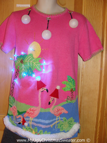 Tropical Themed 3D Ugly Christmas Sweater with Lights Flamingos Palm Trees(t3)
