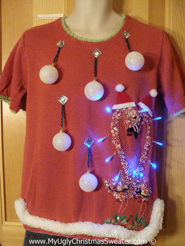 Tropical Themed 3D Ugly Christmas Sweater with Lights Flamingos (t4)