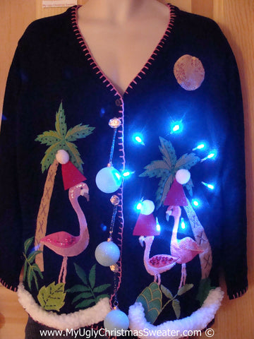 Tropical Themed 3D Ugly Christmas Sweater with Lights Flamingos Palm Trees(t5)