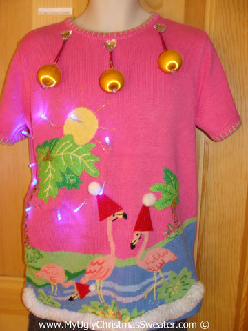 Tropical Themed 3D Ugly Christmas Sweater with Lights Flamingos (t6)