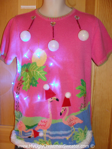 Tropical Themed 3D Ugly Christmas Sweater with Lights Flamingos (t8)