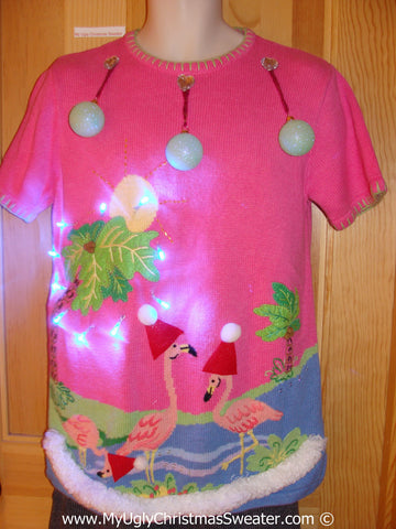 Tropical Themed 3D Ugly Christmas Sweater with Lights Flamingos (t9)
