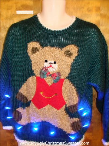 80s Cute Bear Ugly Christmas Sweater with Lights