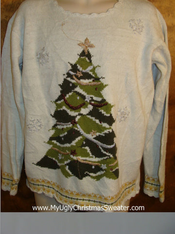Huge Green Tree Tacky Bad Christmas Sweater