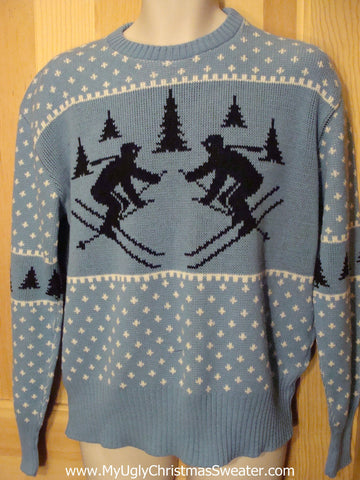 Ugly Christmas Sweater Party Vintage Tacky Sweater Dueling Skiers on Front and Back (v10)