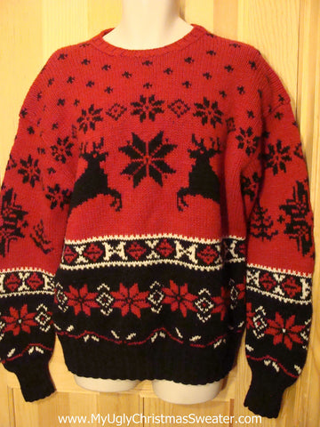 Ugly Christmas Sweater Party Vintage Reindeer Sweater with Reindeer on Front & Back & Sleeves (v11)
