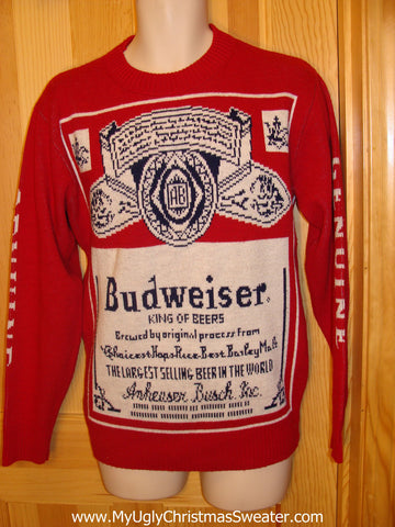 Red Ugly Christmas Sweater Party Vintage Budweiser Sweater with 2sided Bud Label Design (v12)