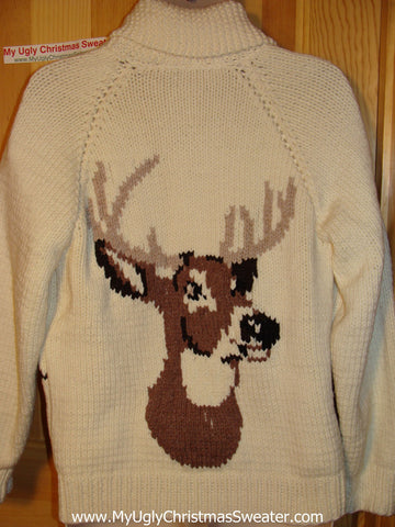 Ugly Christmas Sweater Party Vintage Cowichan Style Reindeer Sweater with Reindeer on Front & Back (v15)