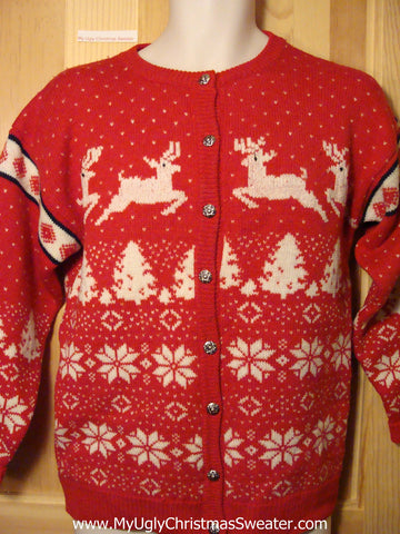 Ugly Christmas Sweater Party Vintage Reindeer Sweater with Design on Front & Back (v16)
