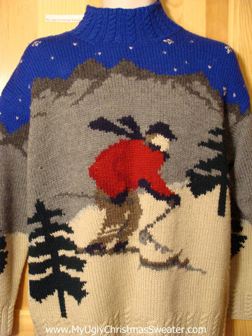 Ugly Christmas Sweater Party Vintage Ralph Lauren Sweater with Skier on Front and Winter Scene on Back (v17)