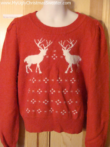 Ugly Christmas Sweater Party Vintage Reindeer Child Sweater (v18)